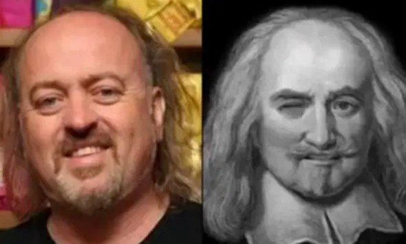 English comedian Bill Bailey looks like philosopher Thomas Hobbes.