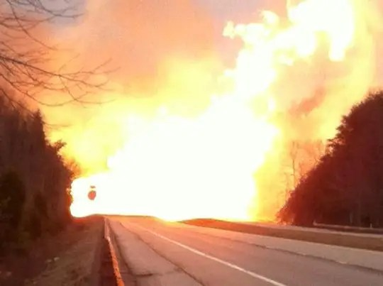 Natural gas line explosion WV