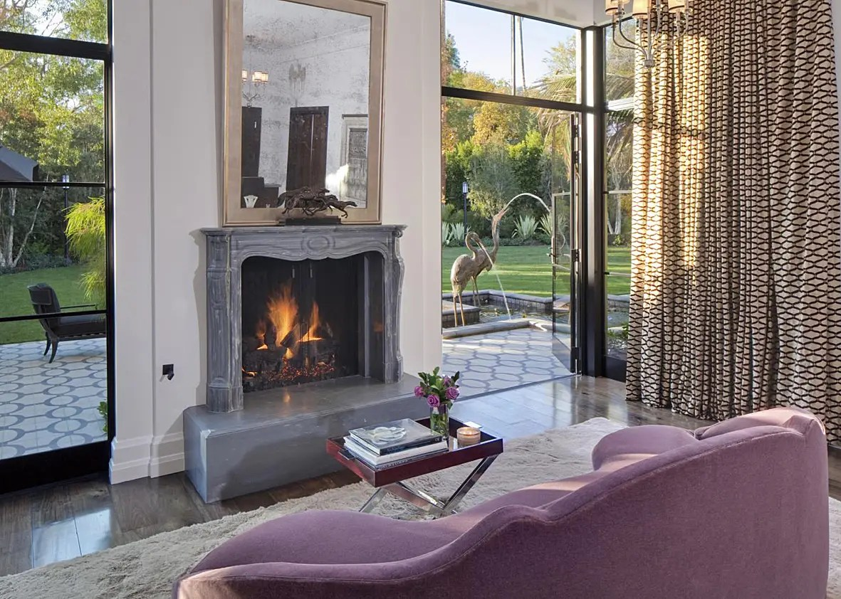 It has a fireplace and incredible views of the property.