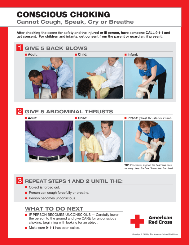 American Red Cross poster on Heimlich Maneuver, from BusinessInsider