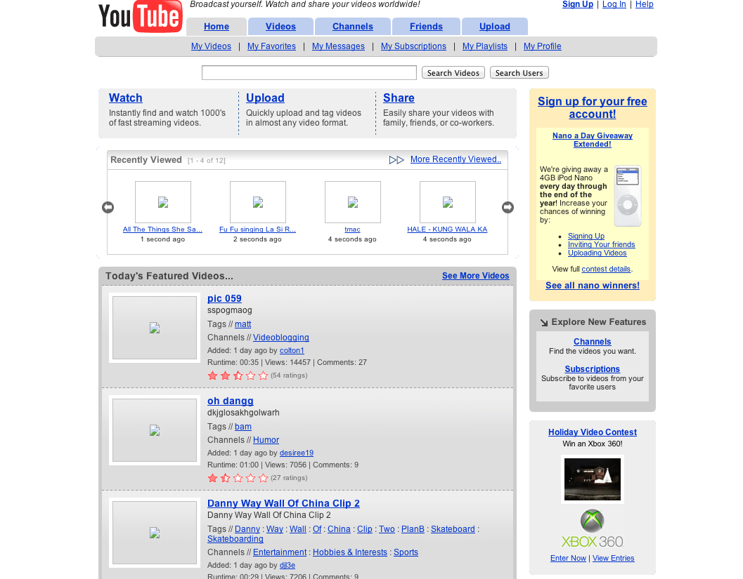 December 2005: YouTube officially launches out of beta following a $3.5 million investment from Sequoia Capital.
