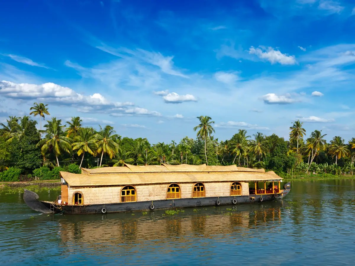 Navigate the backwaters of Kerala, India, on a houseboat.