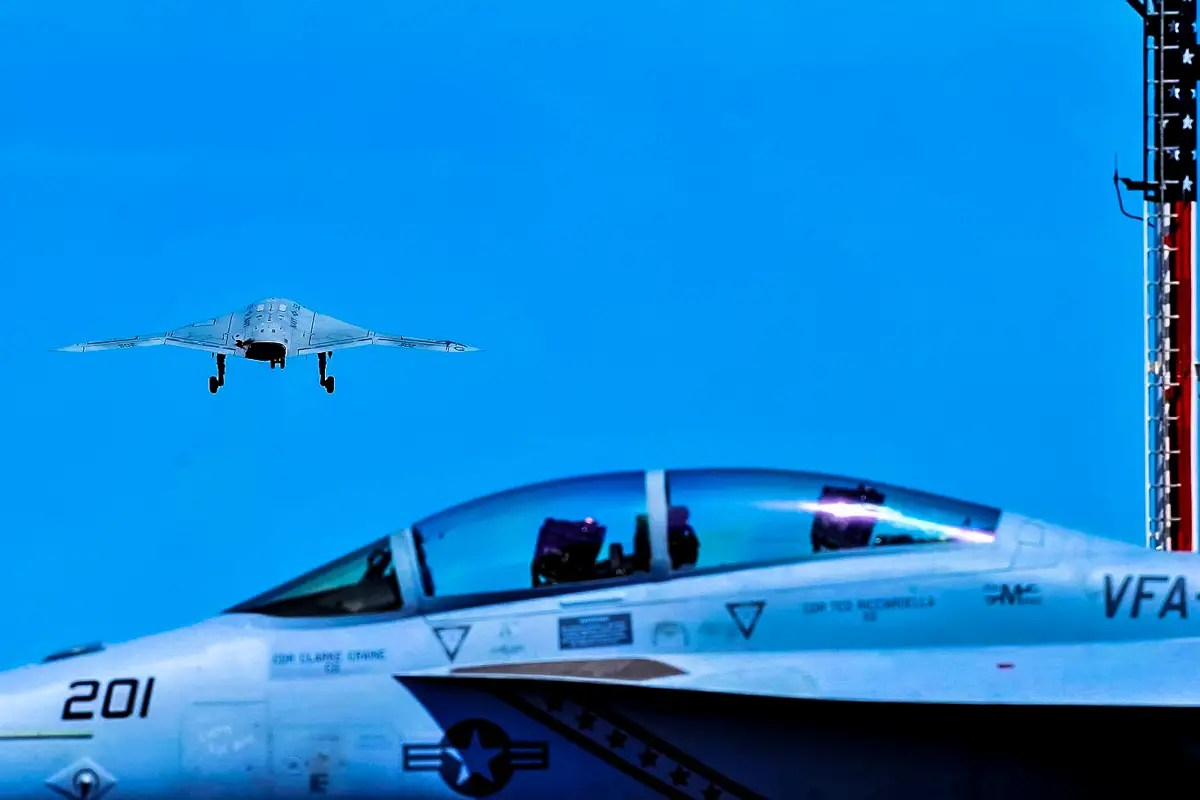 This is the X-47B Current demonstrator aircraft with a 62-foot (19 m) wingspan, first flown in 2011.