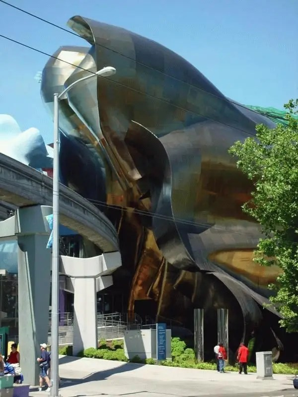 The Experience Music Project in Seattle was inspired by a broken Fender Stratocaster guitar. It was endowed by Microsoft co-founder Paul Allen.