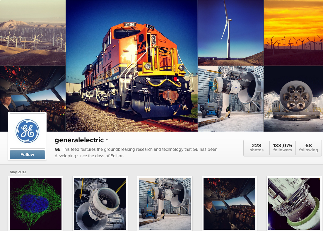 General Electric is a notable brand on Instagram.