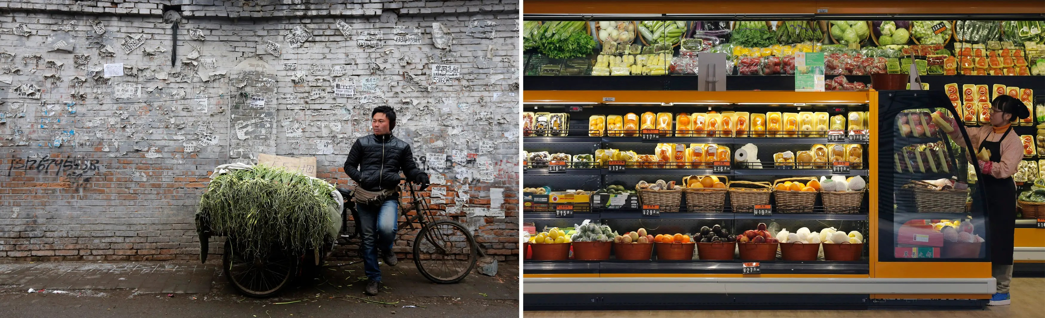 (L) A street vendor sells stems of garlic and (R) a clerk arranges vegetables in a fridge at a supermarket in a wealthy district of Beijing.