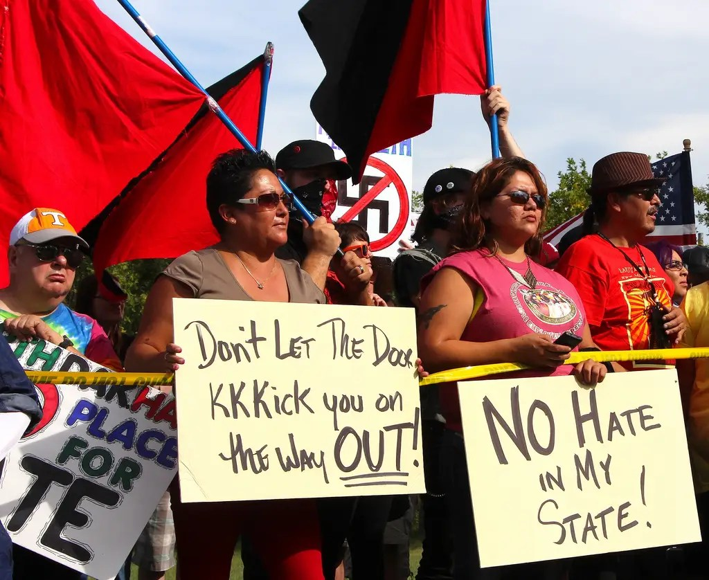 Hundreds protest neo-Nazi plan for whites only town in North Dakota