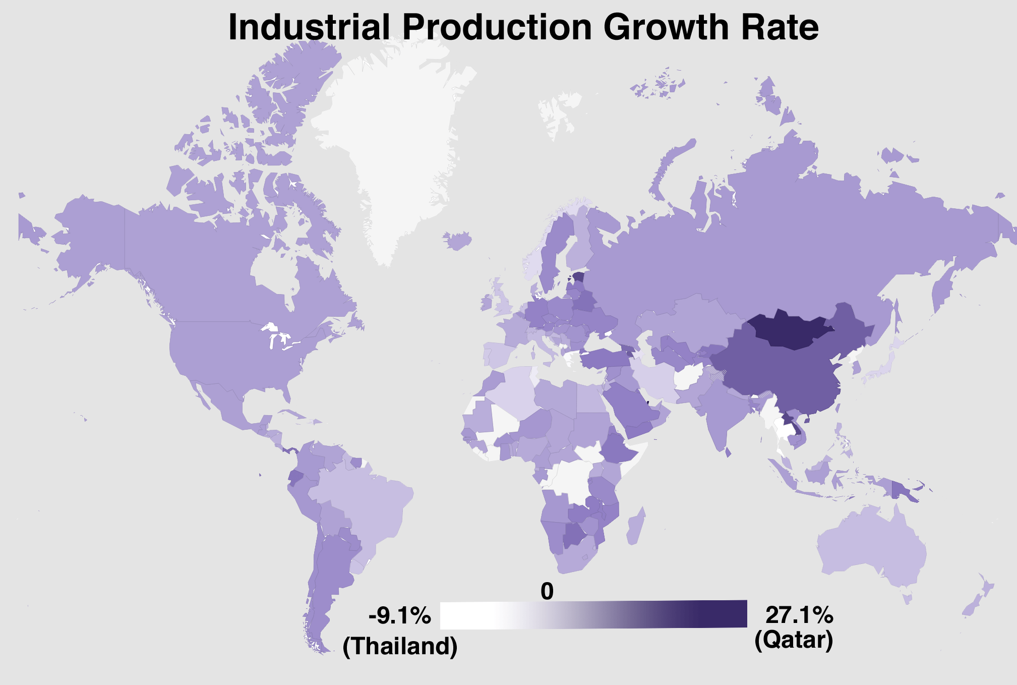 Also worth taking a look at is the industrial production growth rate.  Tiny Qatar is the winner here.