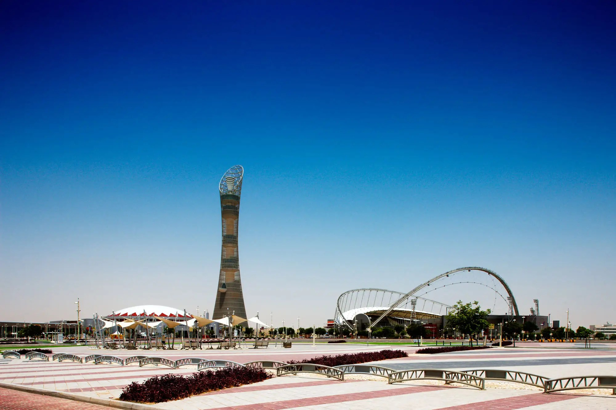 NOW: Today, the outskirts of the city have tourist attractions such as the Khalifa International Stadium and the 984-foot-tall Aspire Tower in the Doha Sport City complex.