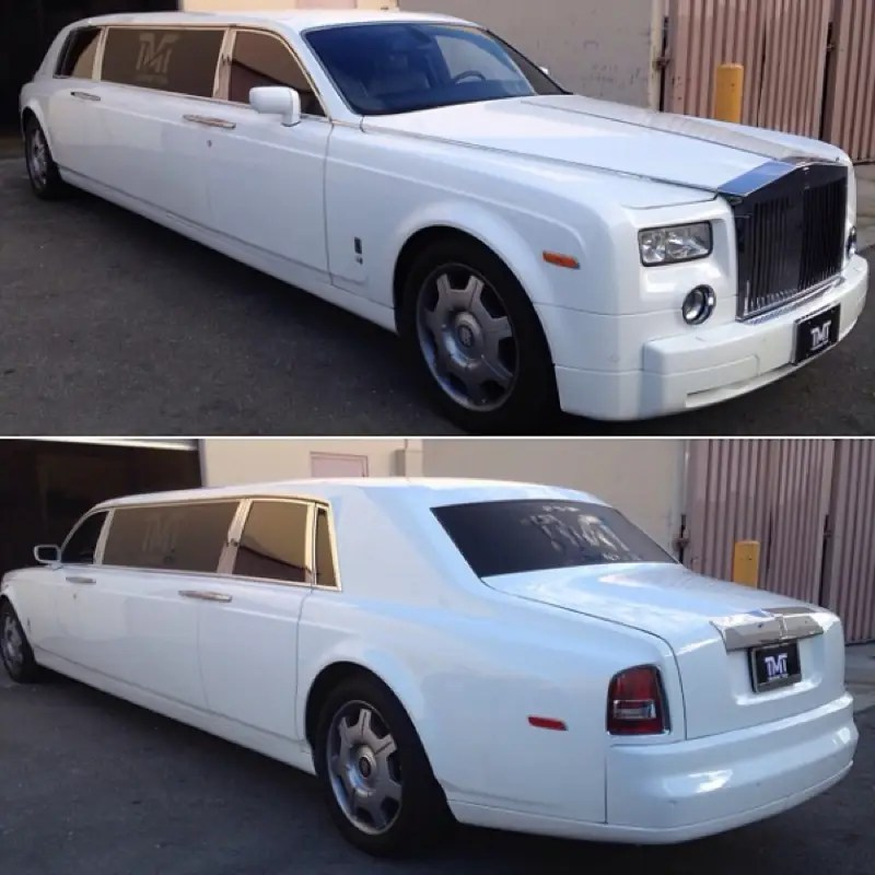 He has a white Rolls Royce limo with his own insignia.