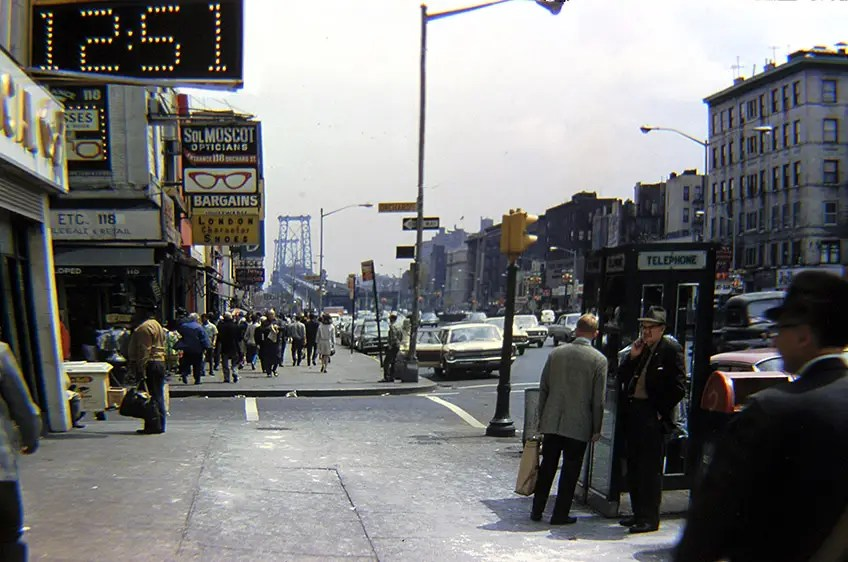 1968: Here's a vintage glimpse of Delancey Street on the Lower East Side, with a view of the Manhattan Bridge.