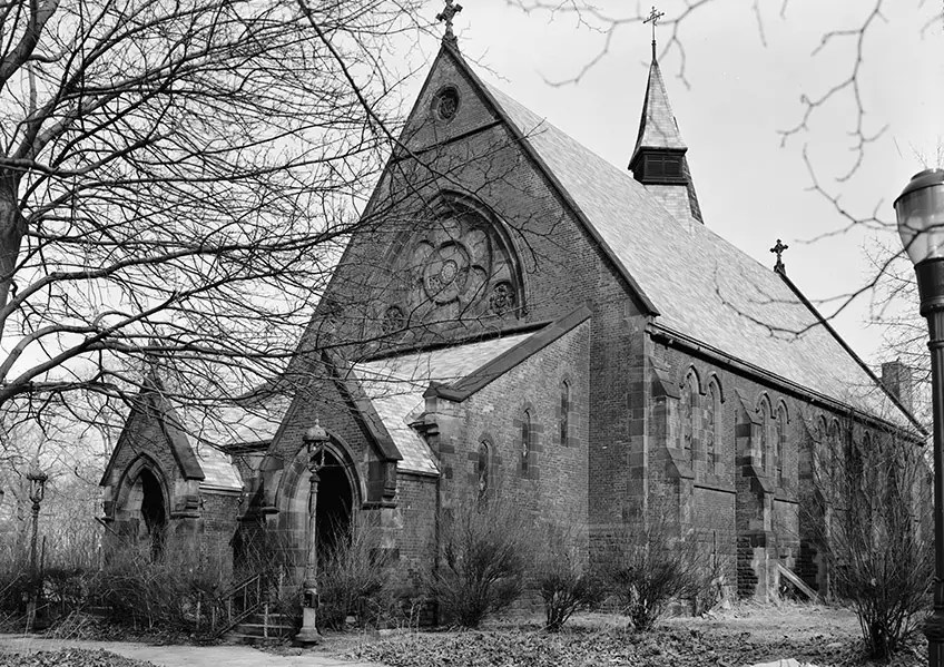 1970: The Chapel of the Good Shepherd was erected on Roosevelt Island in 1888. At the time of this picture, residential complexes were just about to be built on the island.