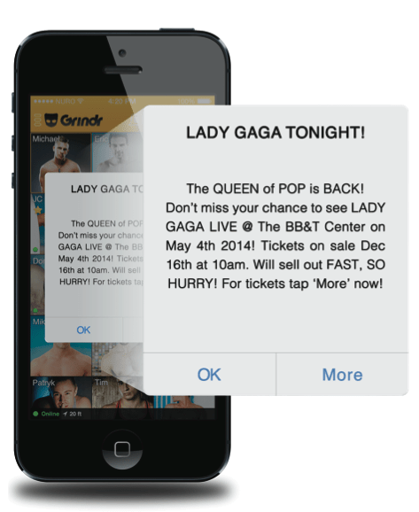 grindr broadcast message ad