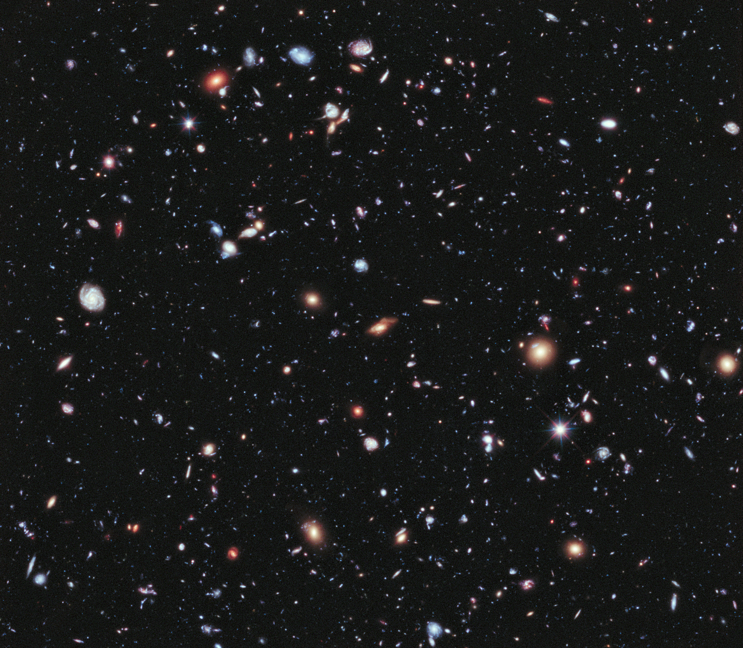 Hubble's most colorful view of the universe ever. The picture was released in June and presented during a meeting of the American Astronomical Society.