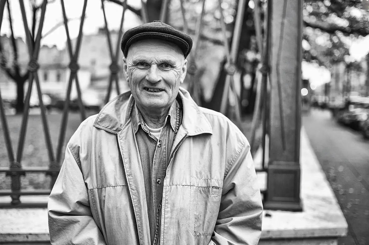 "Oleg, age 71. Profession: Military. Passion or Dream: ""I like constructing things — everything from a small cabinet to a house. I also like to repair technical equipment. I want my grandchildren to be happy."""