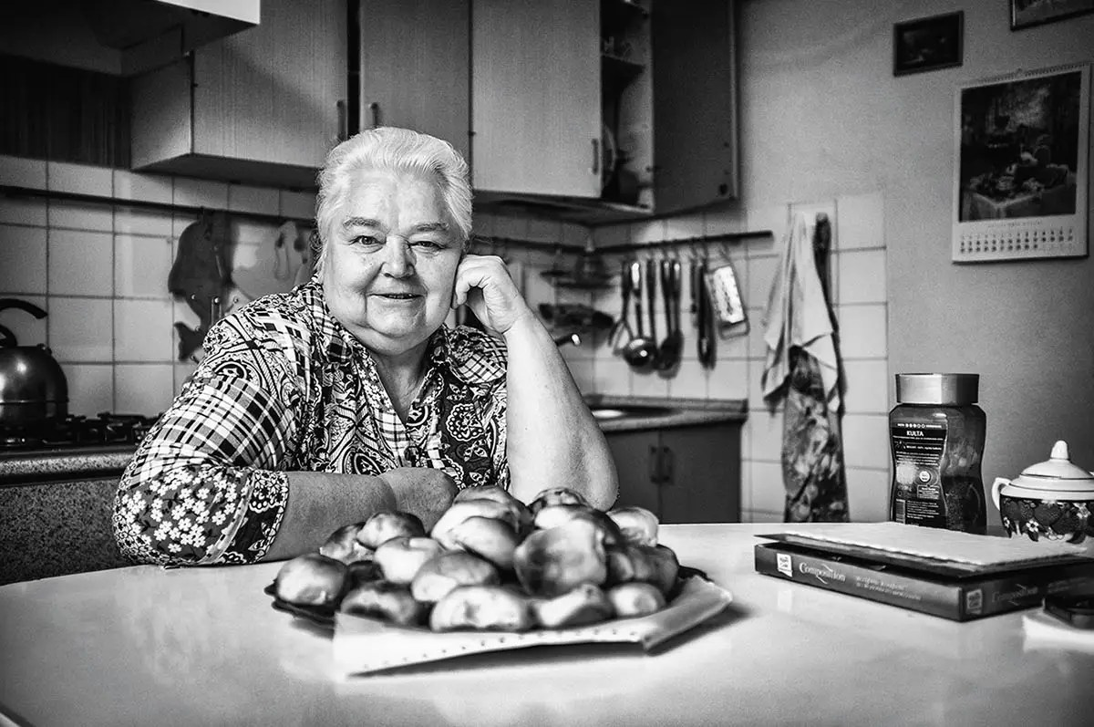 """Olga, age 68. Profession: Teacher. Passion or Dream: """"I wish there were no wars and that my children and grandchildren were healthy."""""""