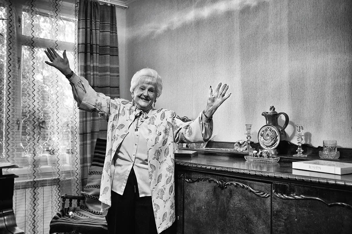"""Lidia, age 91. Profession: Ship designer. Passion or Dream: """"I would like to visit Denmark. I play the guitar and sing Russian songs."""""""