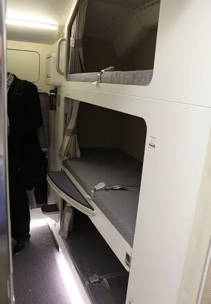 Others have bunk beds that are stacked on top of each other, like this Malaysian Air A380 plane.