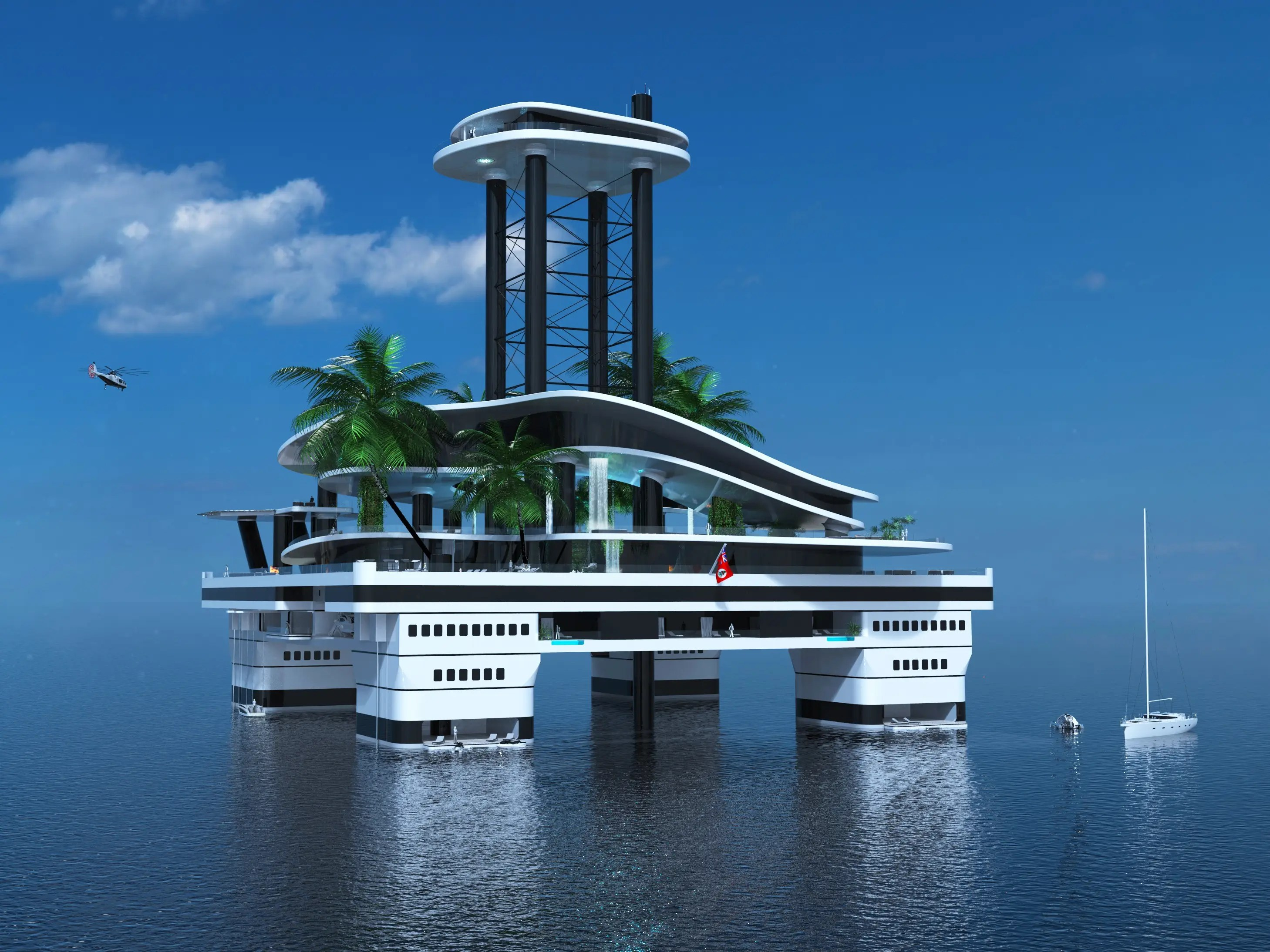 Designed with infinity pools and and private balconies, the VIP and guest deck is under the beach deck.