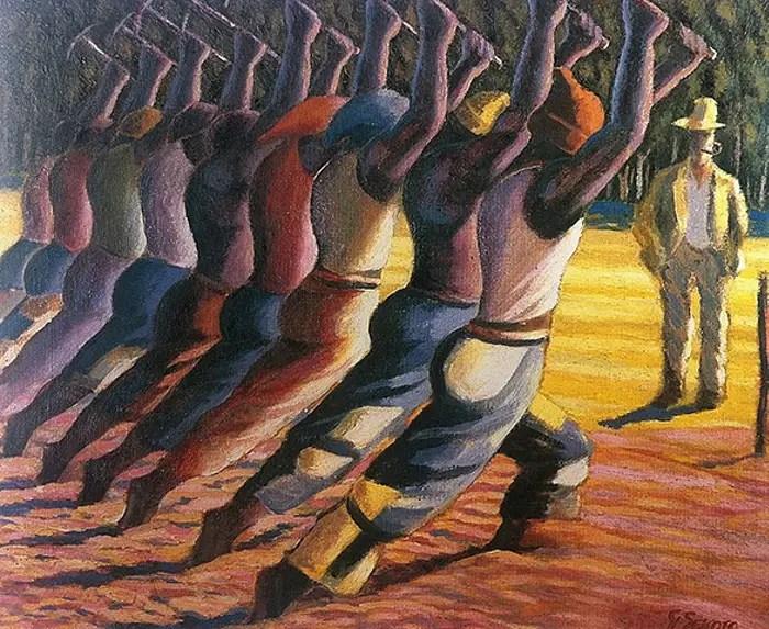 """""""Song of the Pick"""" de Gerard Sekoto au musée d'art Wits à Johannesburg, en Afrique du Sud."""