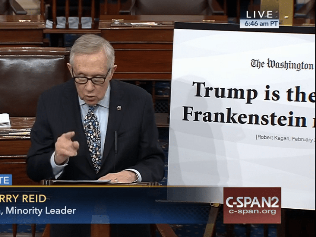 Reid on Senate floor calls Trump a Frankenstein.