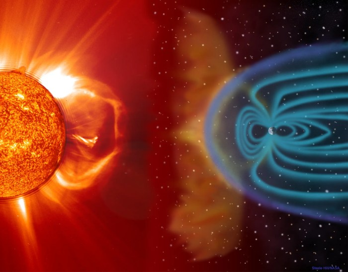 Earth is surrounded by a protective magnetic shield, called the magnetosphere.