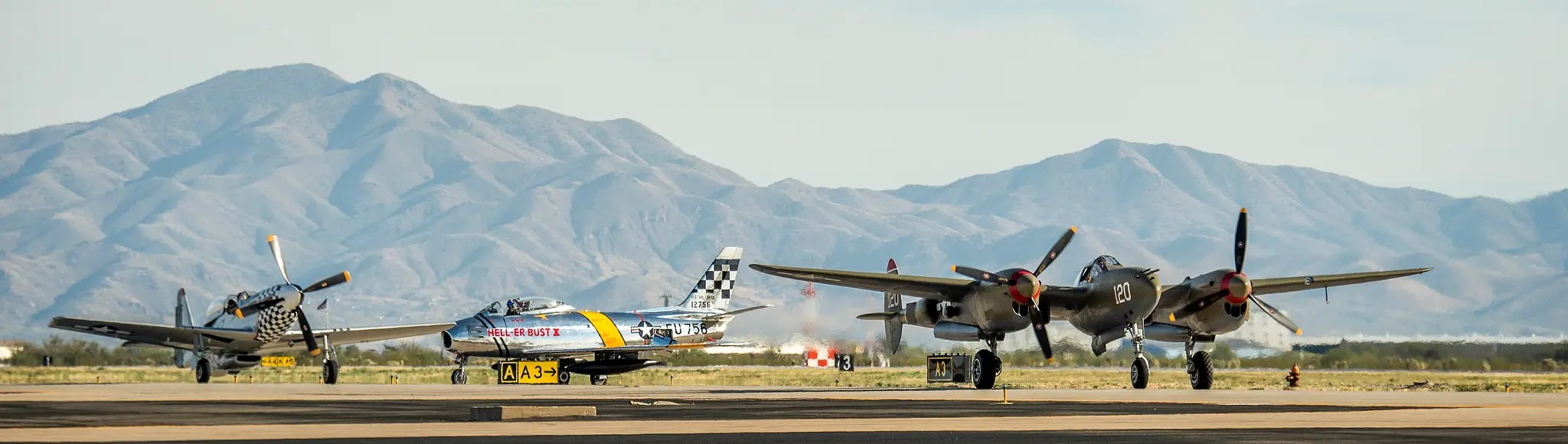 Here the P-51, the F-86, and the P-38 are, looking great for old timers.
