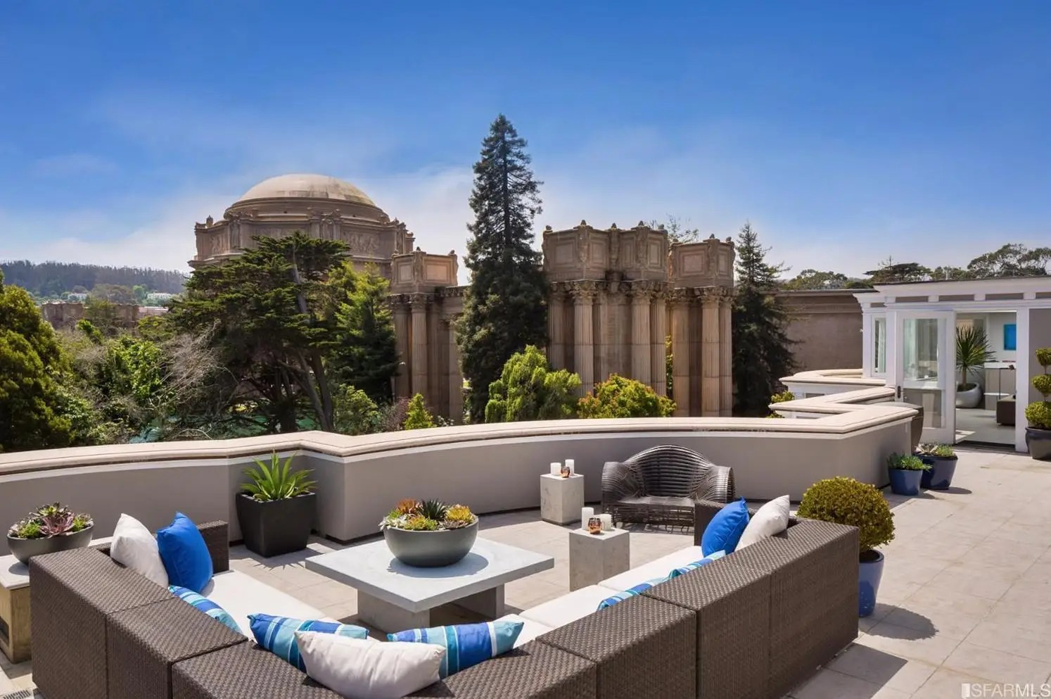 One of the best parts of this home, though, is its expansive roof deck. From one side, you'll get another close-up look at the Palace of Fine Arts.