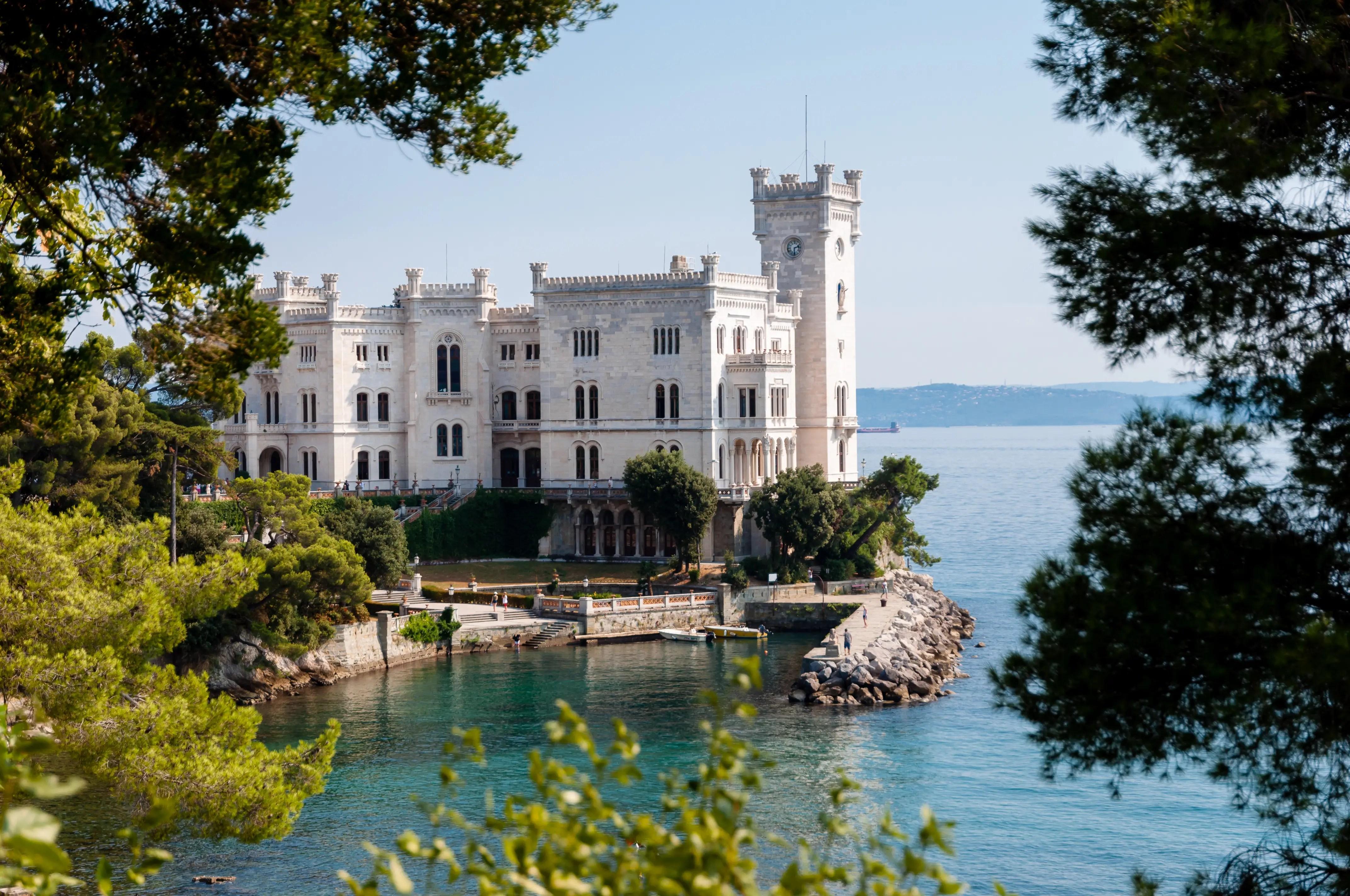 78. The spectacular Miramare Castle overhangs the Italian coast near Trieste.
