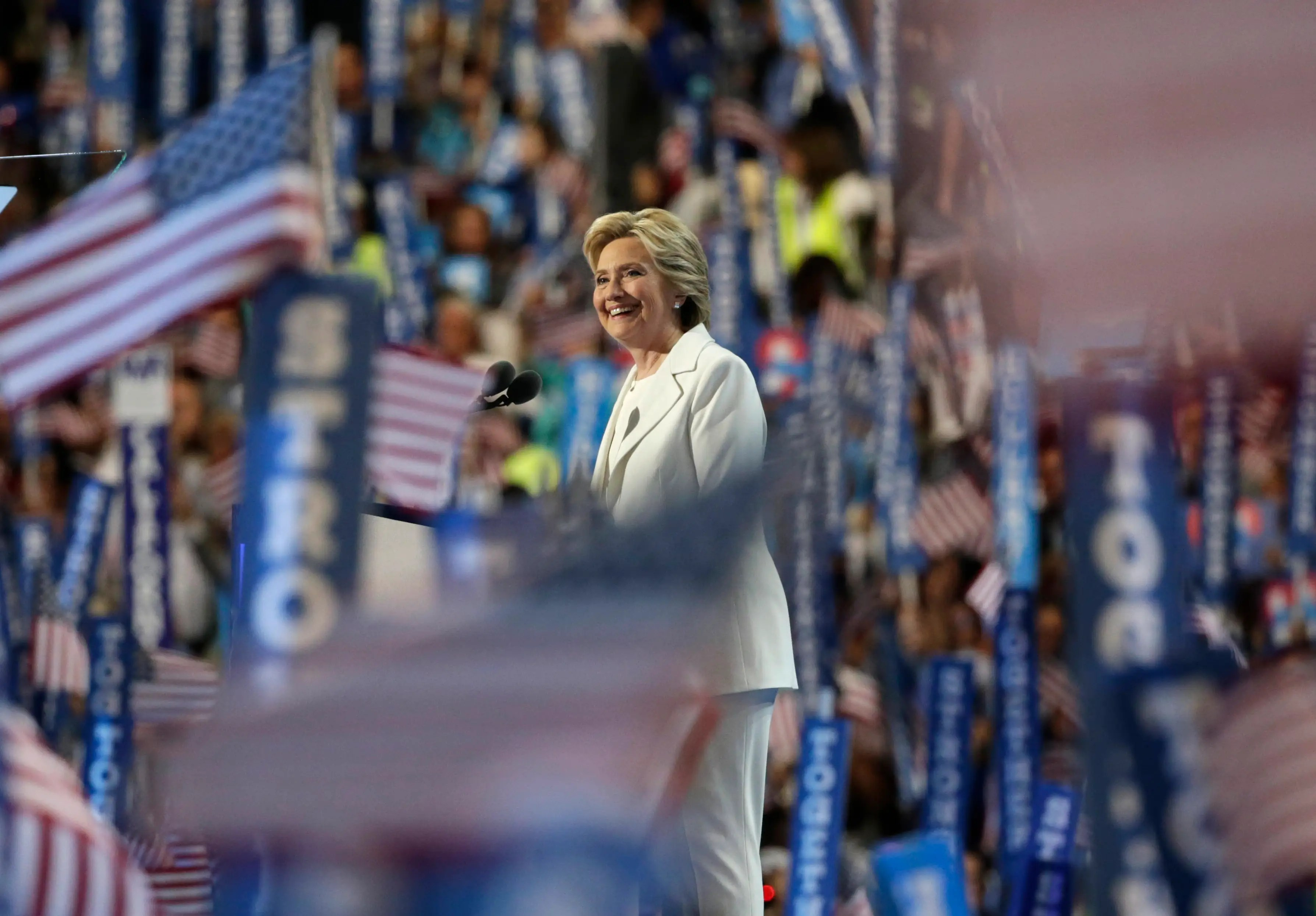 In July, Clinton accepted the Democratic Party's nomination for president in Philadelphia, becoming the first female nominee of a major party.