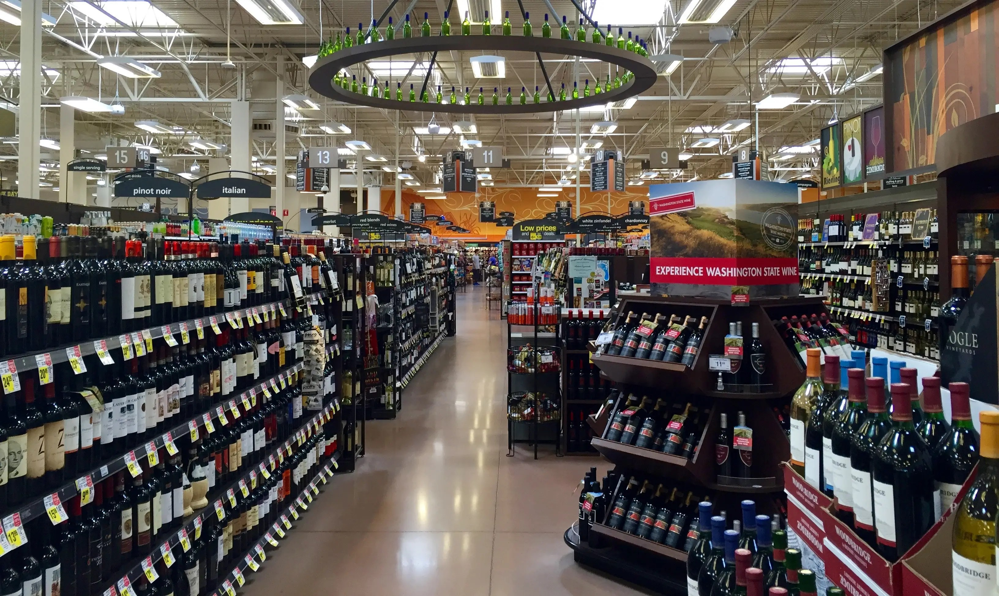 Back in the main part of the store, there's a giant wine selection that stretches across four aisles. This department features 500 types of beer and nearly 2,000 types of wine.