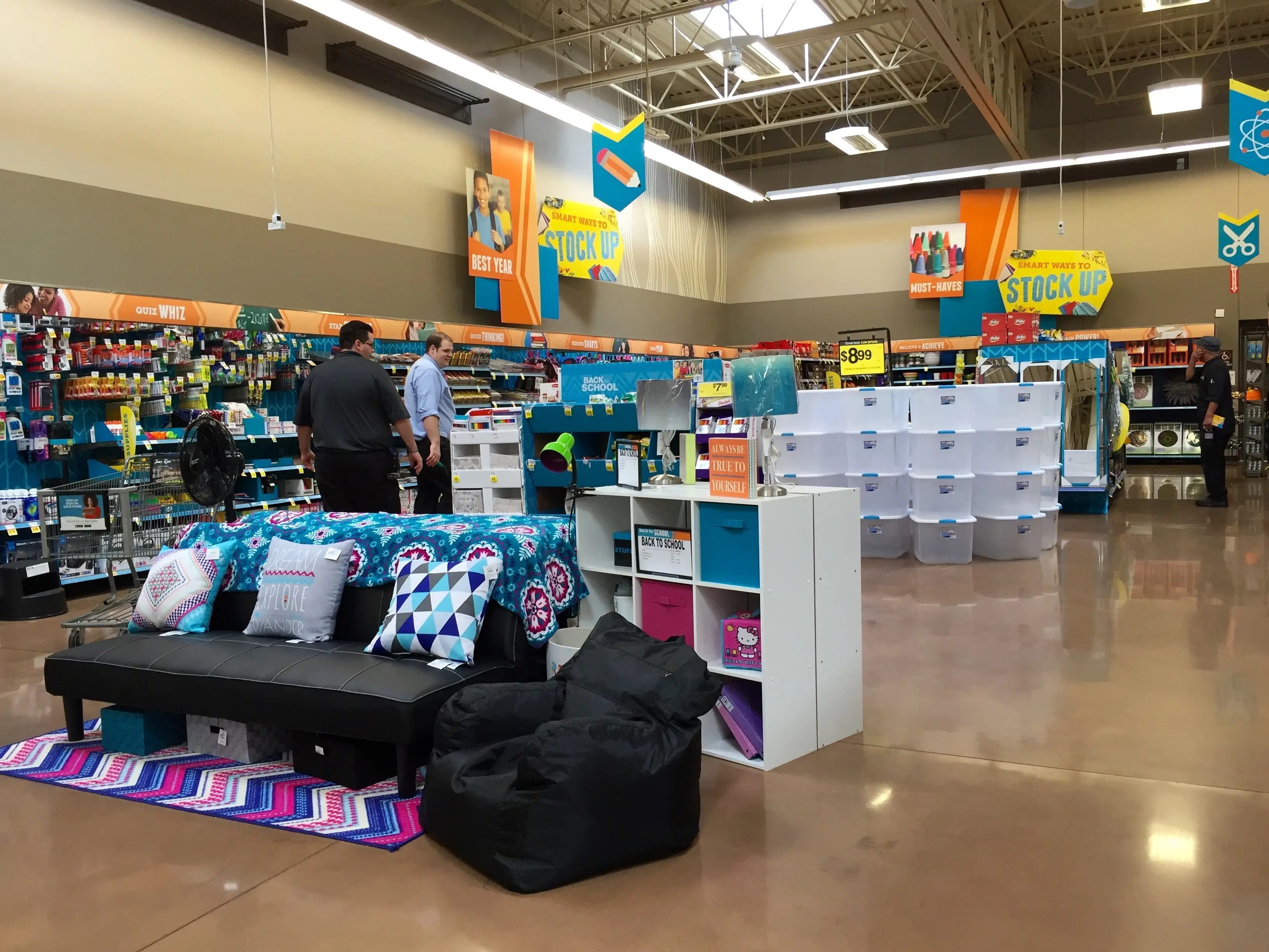 Futons and bean-bag chairs are featured.