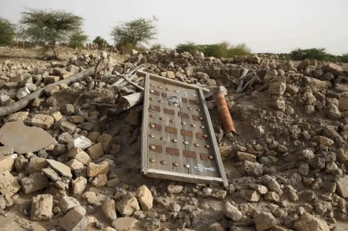 The rubble left from an ancient mausoleum destroyed by Islamist militants, is seen in Timbuktu, Mali, July 25, 2013. REUTERS/Joe Penney  ICC rules jihadist liable for 2.7 mn euros for Timbuktu rampage ICC rules jihadist liable for 2.7 mn euros for Timbuktu rampage islamist militant on trial in hague over destruction of timbuktu shrines 2016 8