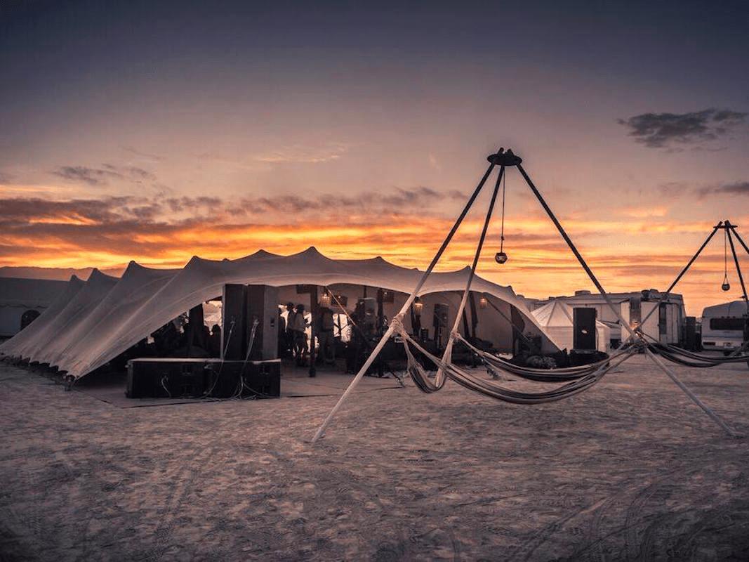 burning man camp white ocean