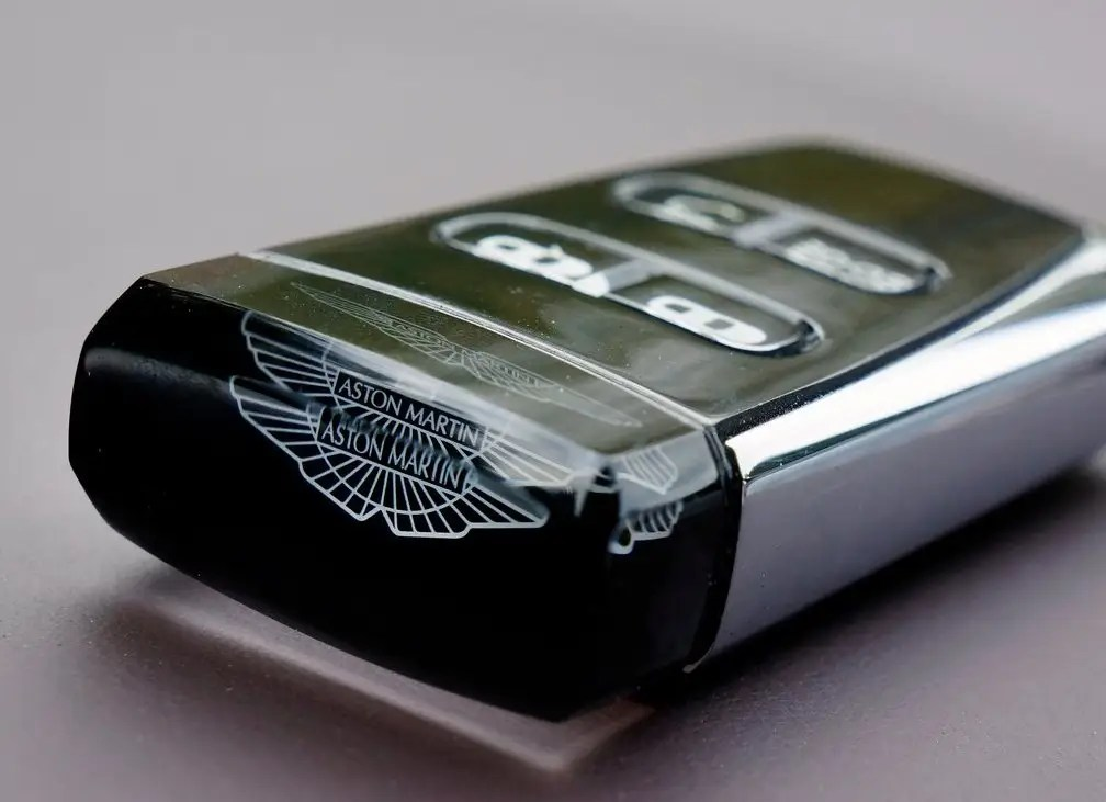 Aston Martin's key fob is topped off with a crystal.