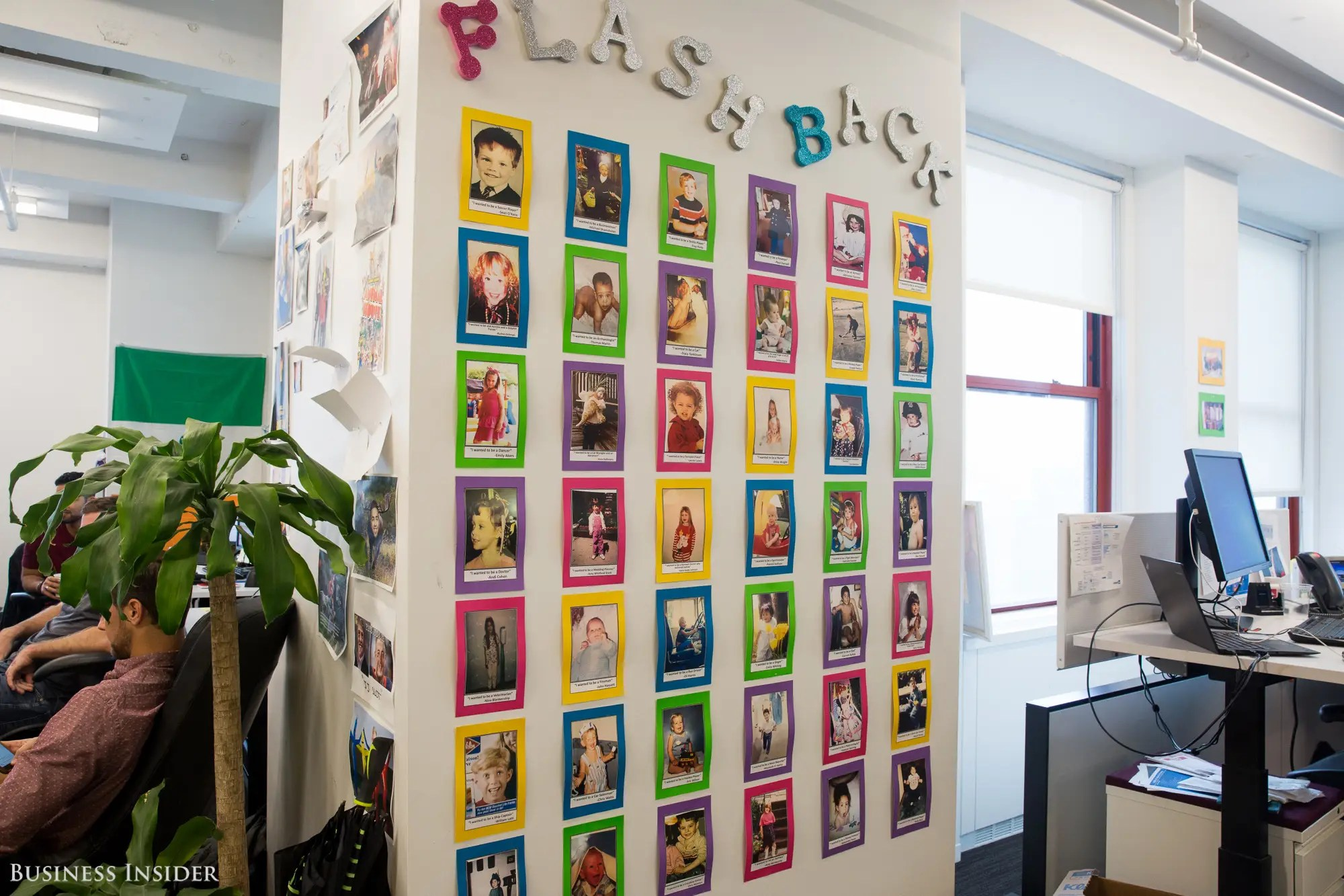 """We also visited a """"flashback"""" wall. Keeping with LinkedIn's focus on careers, employees submitted their baby photos, along with blurbs about what they wanted to be when they grew up."""