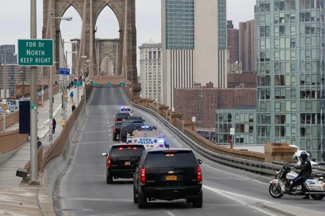 El Chapo Guzman police escort New York Brooklyn Bridge