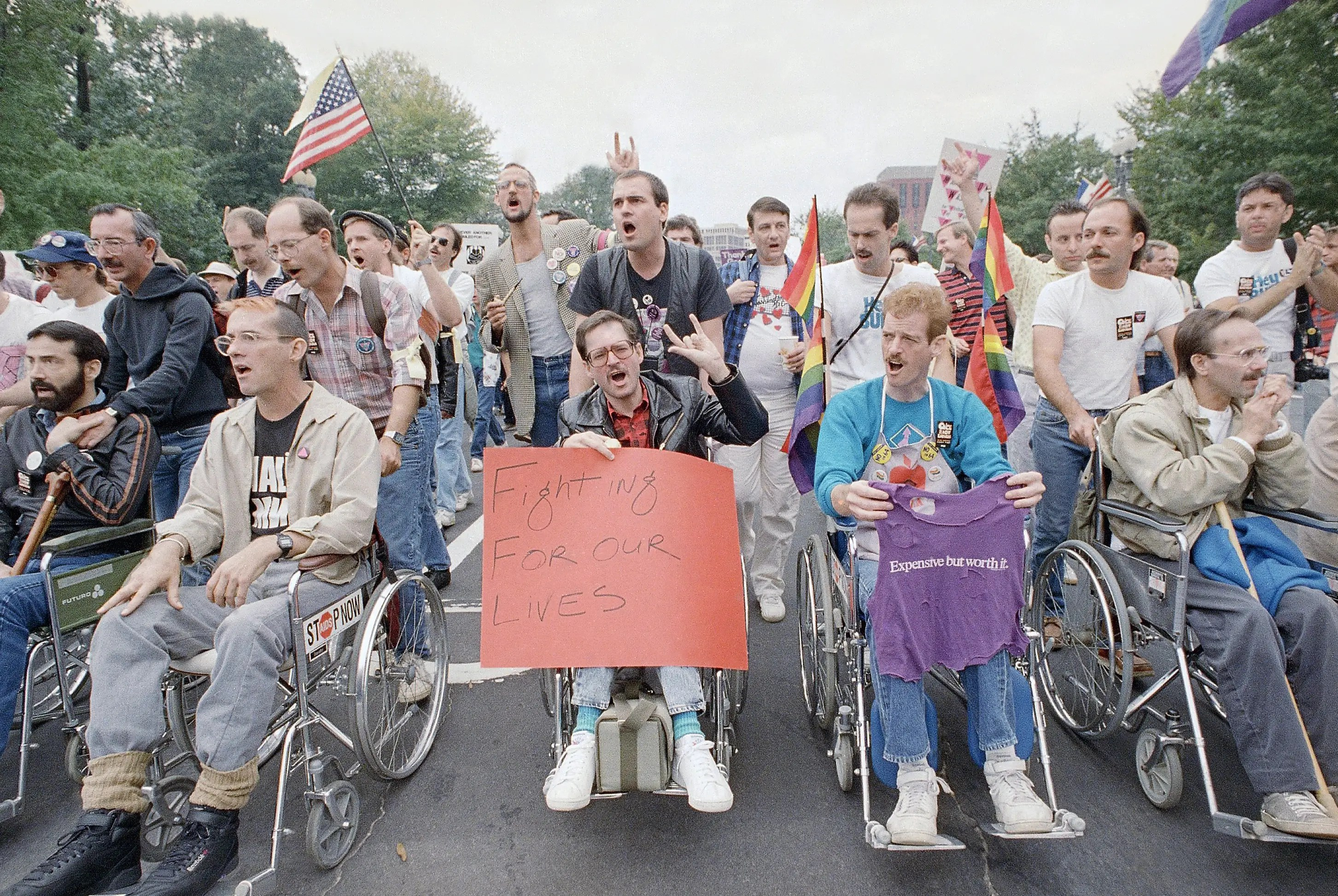 When the HIV/AIDs epidemic hit in the '80s and '90s, LGBT rights activists urged the federal government to fund research and treatment. The Second National March on Washington for Lesbian and Gay Rights drew around 200,000 people in 1987.