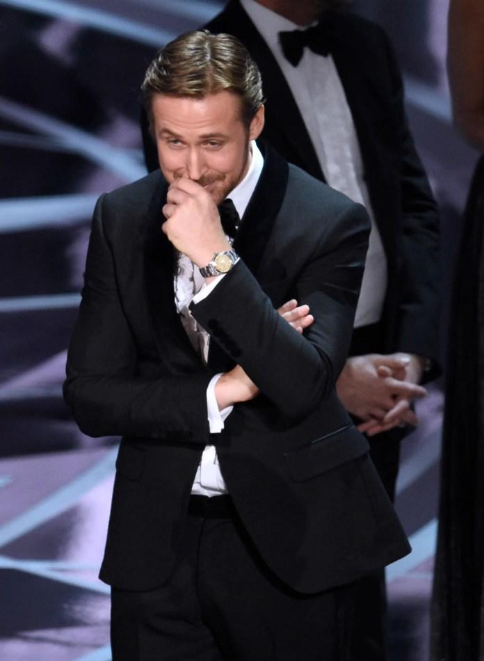 ryan gosling oscar moonlight win reaction
