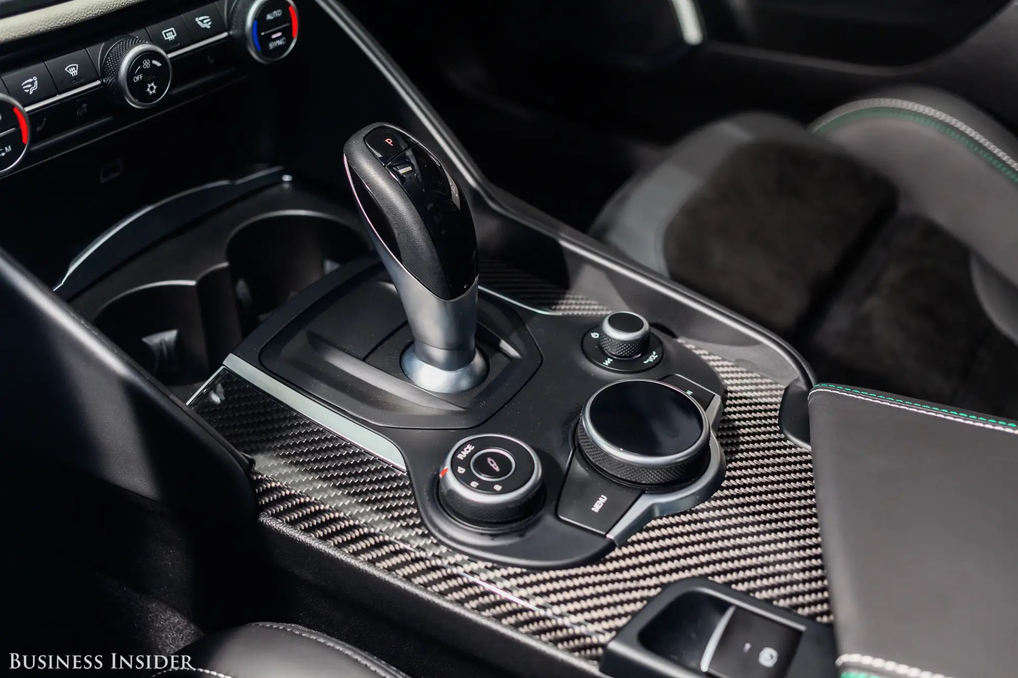 OK, Alfa, just get rid of the annoying joystick shifter, please. That said, the eight-speed auto (no manual available in the US) is quite capable and can be operated in manual mode using the excellent aluminum paddle-shifters behind the steering wheel — this reminded us of those of Ferraris and Maseratis.