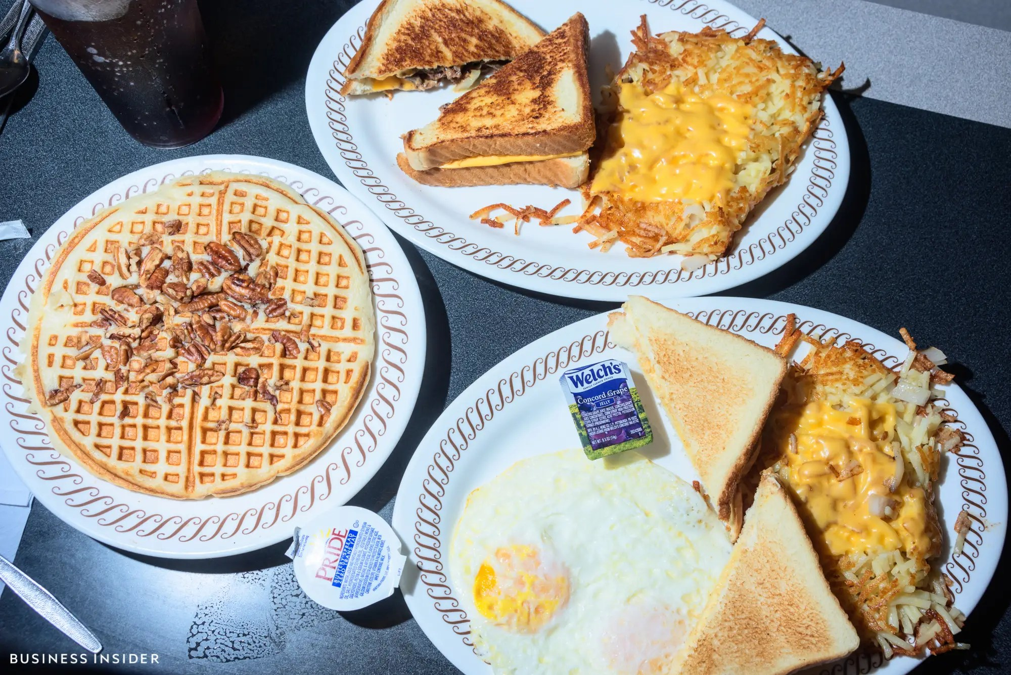 "Our order was a fair sampling of the menu: an ""All-Star Breakfast"" special, which includes a waffle with pecans, eggs, toast, hash browns, and a protein side, plus a steak melt with more hash browns on the side. Everything arrived lightning fast, despite our friendly waitress' banter."