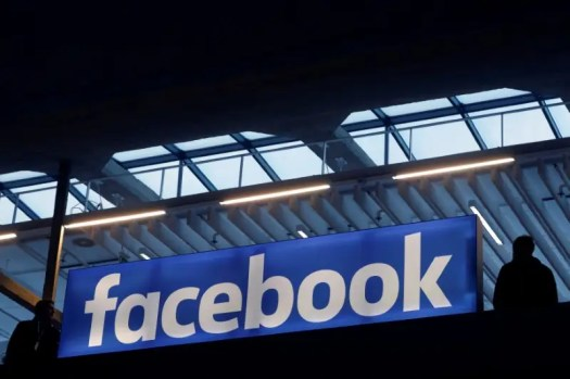 FILE PHOTO - Facebook logo is seen  at a start-up companies gathering at Paris' Station F in Paris, France on January 17, 2017. REUTERS/Philippe Wojazer/File Photo