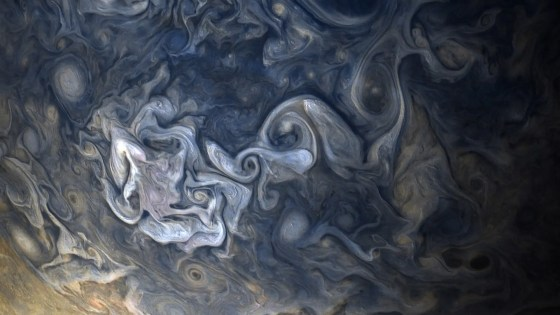 The planet's atmosphere is a turbulent mess of hydrogen and helium gases.