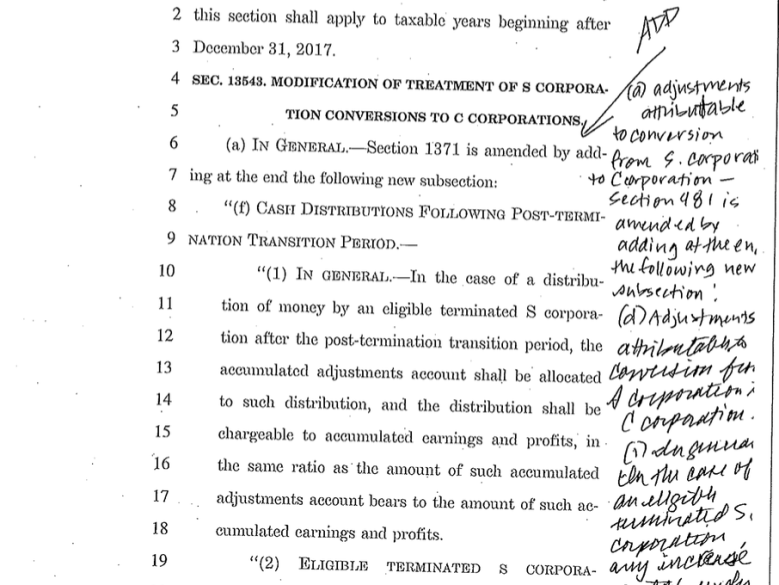 6:45: Senate Democrats finally got the bill from the GOP, but its covered in handwritten notes.