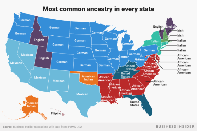 most common ancestry every state