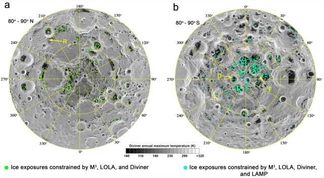 ice water map moon lunar north south poles polar deposits shadowed craters max temperature pnas lro nasa 178152