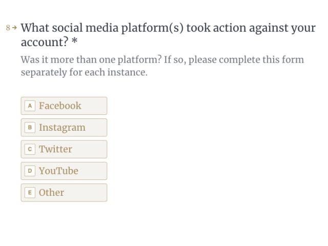 White House Social Media form
