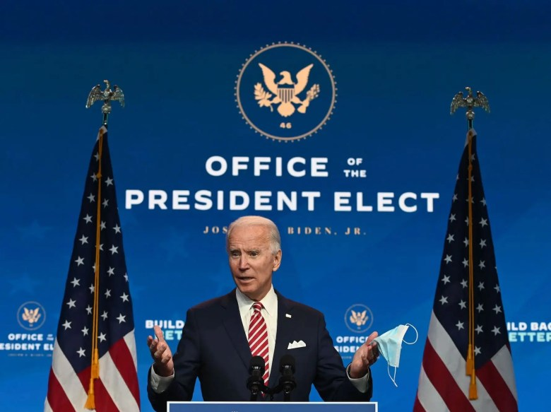 US President-elect Joe Biden speaks during a press conference at The Queen in Wilmington, Delaware on November 16, 2020. - US President-elect Joe Biden expressed frustration on November 16, 2020 about Donald Trump's refusal so far to cooperate on the White House transition process, saying