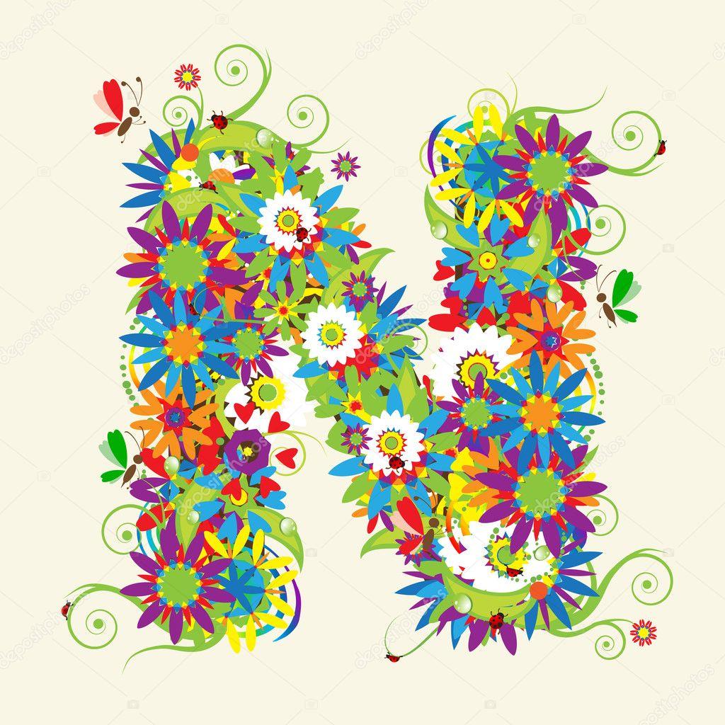 letter n floral design stock vector kudryashka 3233813
