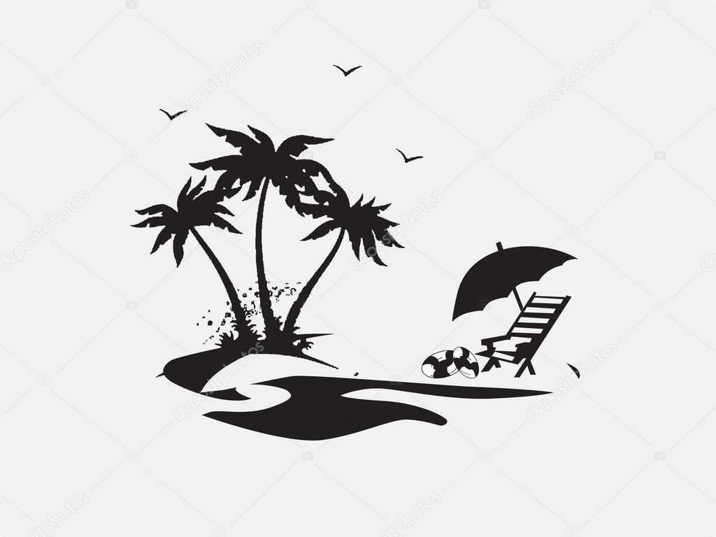 Palm Trees With Lounge Chairs